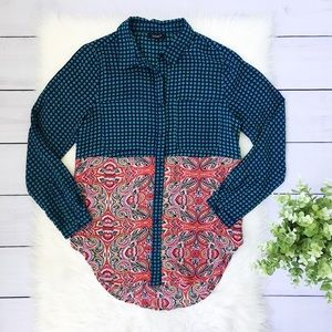 75b3af5ee27 Tolani Blue Green Pink Print Button Down Top #754
